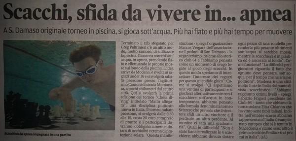 articolo pubblicato dalla Gazzetta di Modena
