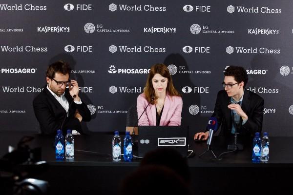 Caruana e Aronian nel post partita