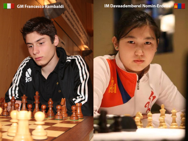 Rambaldi e Nomin-Erdene Davaademberel, presentati dal sito ufficiale rispettivamente come vincitore del'Open di Vienna 2015 e come numero tre al mondo nella classifica under 20 Femminile.