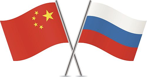 Russia and China flags.