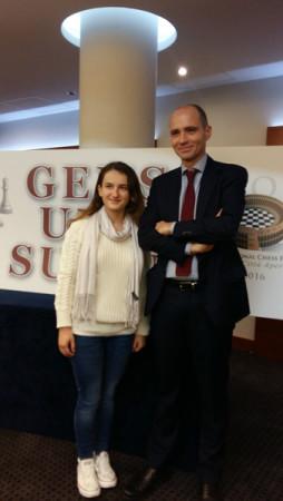 La Campionessa Italiana Daniela Movileanu con il vice sindaco Daniele Frongia. Foto Ragonese