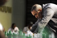 JOHANNESBURG, SOUTH AFRICA - MARCH 25: (SOUTH AFRICA OUT) Former World Chess Champion Garry Kasparov plays a game of chess with school children on March 25, 2012in Pretoria, South Africa. Kasparov played against 25 young players in less than 100 minutes. Kasparov is in the country as the guest of local chess education project Moves for Life (MFL). A branch of the Kasparov Chess Foundation (KCF) has been established in South Africa with the objective of taking the successful MFL chess initiative into other African countries. (Photo by Foto24/Gallo Images/Getty Images)