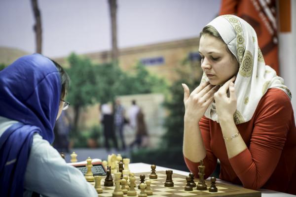 Anna Muzychuk nella FInale Mondiale persa in Iran nel 2017